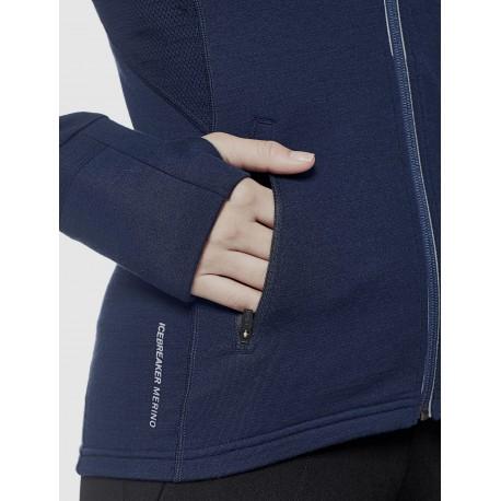 Icebreaker - Quantum Long Sleeve Zip Hood - Sudadera - Mujer